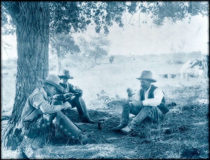 Believe it or not, this photo was taken in the late 1890's on the King Ranch in south Texas. These cowboys are eating tomatoes from cans.