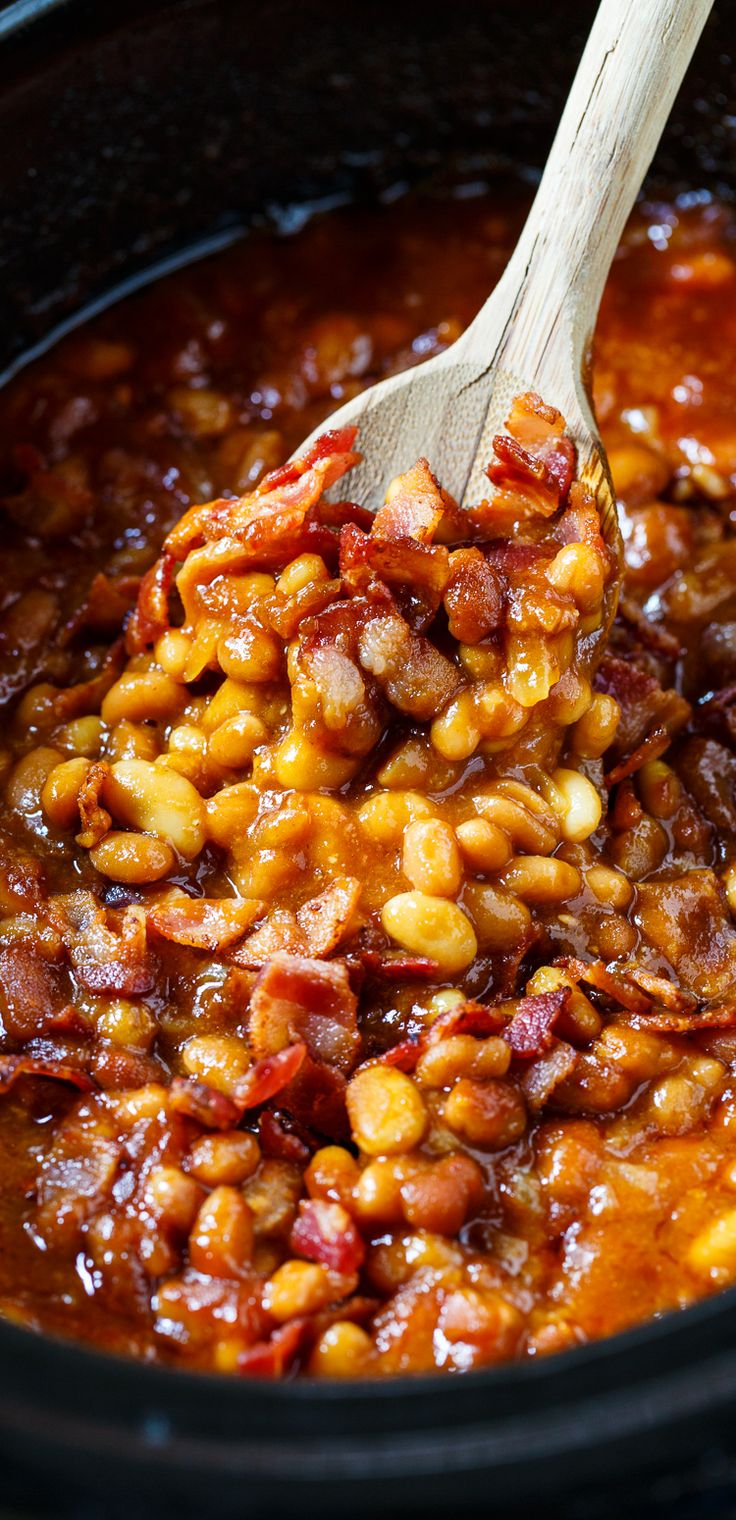 Slow Cooker Bourbon Baked Beans by Spicy Southern Kitchen