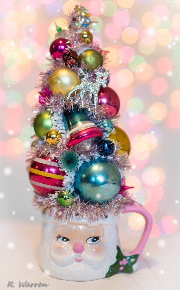 Vintage Pink Santa Cup With Bottle Brush Tree Decorated Christmas Ornaments Ebay Christmas Crafts Decorations Christmas Ornaments Bottle Brush Trees