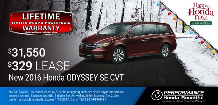 New 2016 Honda Odyssey: Lease a New 2016 Odyssey for only $329 per month or purchase with 0% Financing. https://www.performanceut.com/offers/new-2016-honda-odyssey-bountiful-1216?utm_source=rss&utm_medium=Sendible&utm_campaign=RSS