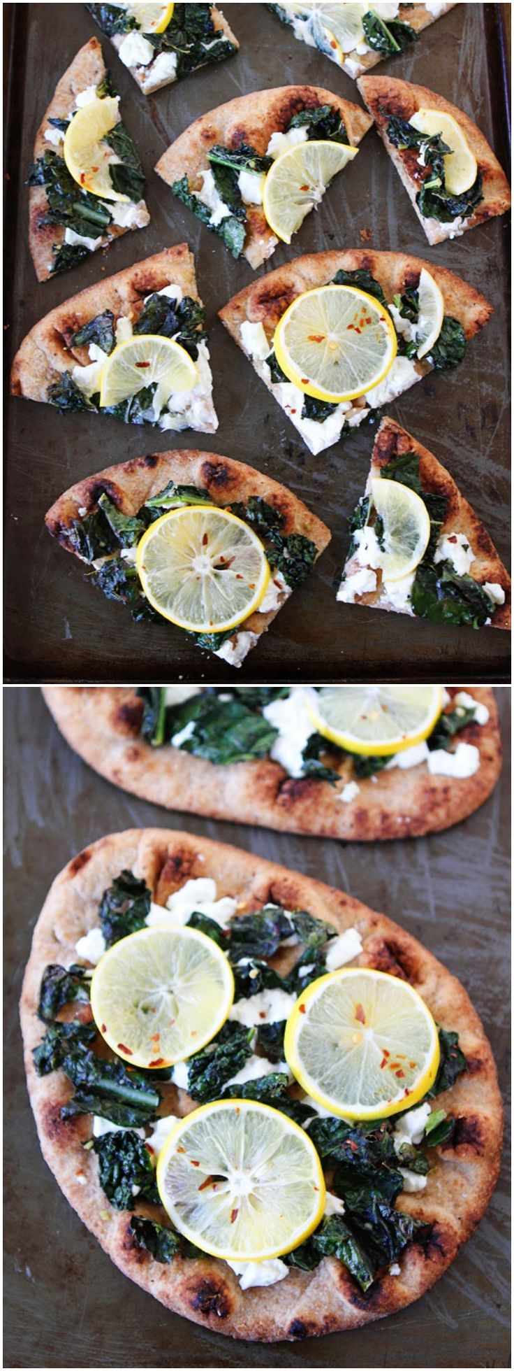 Meyer Lemon, Kale, and Goat Cheese Flatbread Recipe on twopeasandtheirpod.com Great for an easy dinner, lunch, or as a party appetizer!