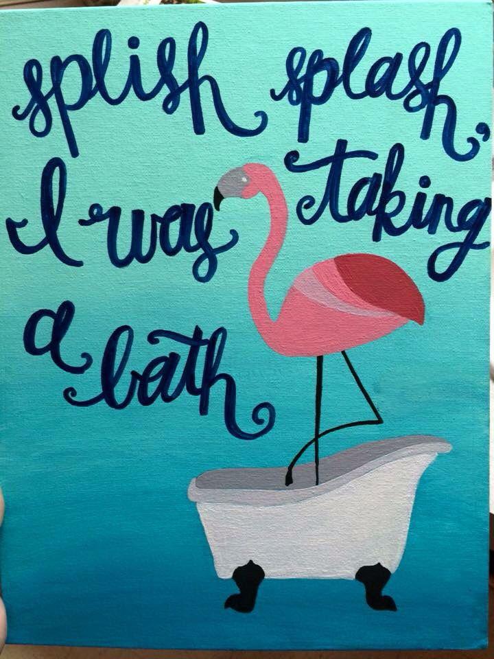 Flamingo bathroom canvas art bath