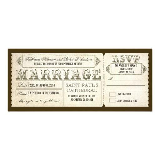 old vintage wedding invitations - tickets  RSVP