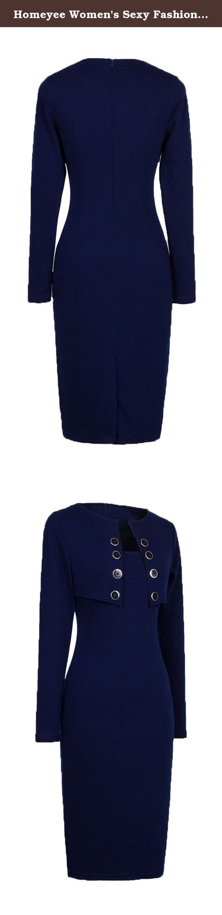Homeyee Women's Sexy Fashion Long Sleeve Wear to Work Bodycon Dress B10 (Medium, Dark Blue). Size Information(just for reference): Size Small:Bust(32inch),Waist(26inch),Hip(33.5inch),Shoulder wide(14.5inch),Sleeve length(22.5inch),Length(39inch) Size Medium:Bust(34inch),Waist(28inch),Hip(35.5inch),Shoulder wide(14.8inch),Sleeve length(22.5inch),Length(39inch) Size Large:Bust(36inch),Waist(30inch),Hip(37.5inch),Shoulder wide(15.1inch),Sleeve length(23inch),Length(40inch) Size...