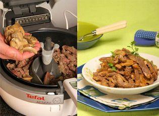 Tempo de confecção: 40m  Quantidade: 5 pessoas   Ingredientes:  500 g de bifes de novilho  1 lata pequena de cogumelos laminados  1 cebola ...