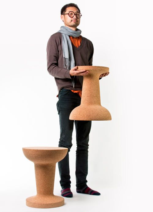 Pushpin Cork is a playful design by Kenyon Yeh that offers double duty. Designed for the Taiwan-based firm COOIMA, the multifunctional cork piece works as both a stool and a side table and will add a bit of quirk and fun to any space. The flexible piece allows you to sit on the smaller surface side or flip it over and use the larger one for a table.