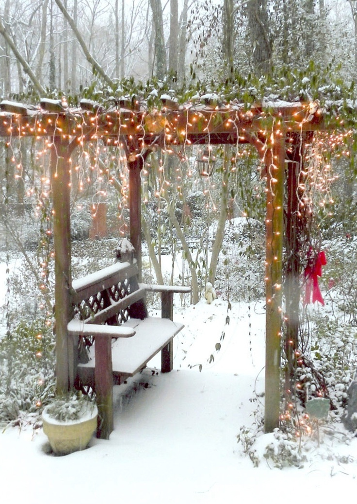 Garden Arbor Bench in Snow Outside christmas decorations