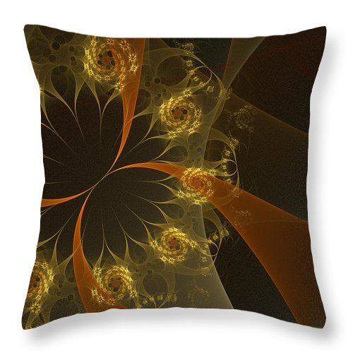 Fractal Throw Pillow featuring the digital art Fire Flowers by Elena Ivanova IvEA   #ElenaIvanovaIvEAFineArtDesign #Design #Pillow #Cushiоn #HomeDecor #Gift