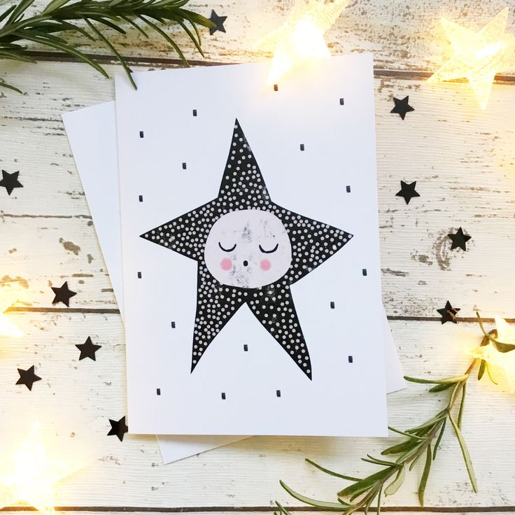 This card features my original Sleepy Star design, in a modern palette of black, white and pink. It makes a lovely alternative Christmas card, birthday card, or for a new baby...perfect for fra...