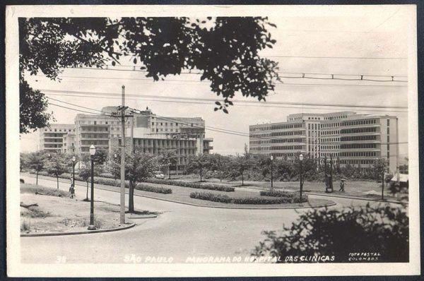 São Paulo - Panorama do Hospital das Clínicas - Foto Postal antigo original, nº 38, editado por Colo