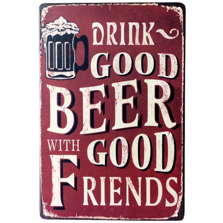 Boire une bonne bière avec bon amis Mur Affiche 20*30 CM En Métal D'étain signe Pub Club Galerie Affiche conseils Vintage Plaque Plaque De Décor Nouveau