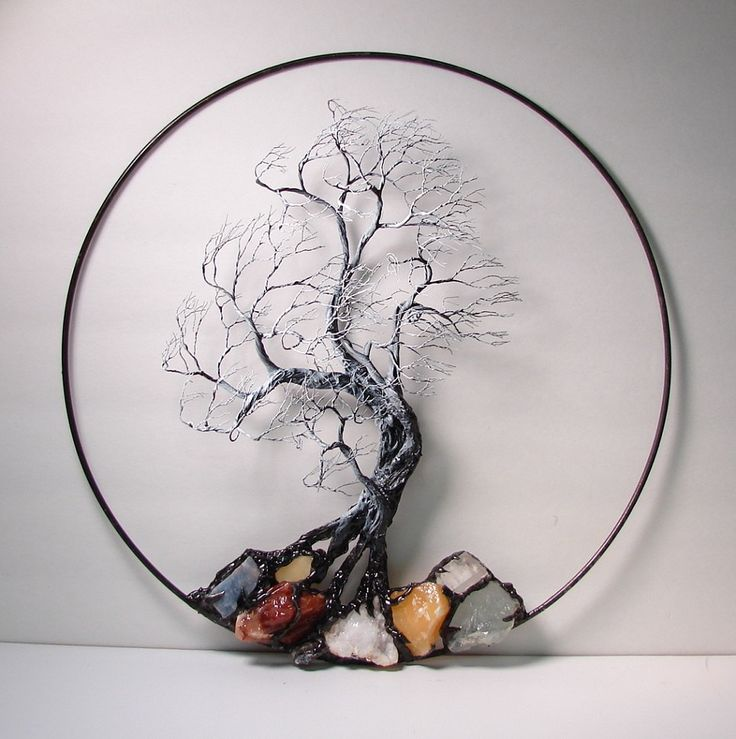 """Wire Tree Of Life Black and White Wind Spirit sculpture with natural Calcites, original Art  14 """" wall hanging decor. $495.00, via Etsy."""