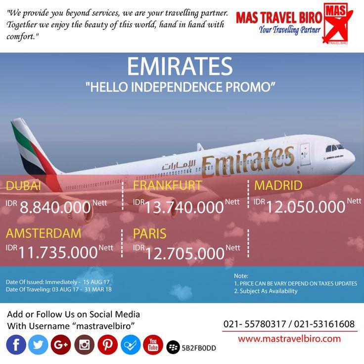 """Terbang bersama maskapai """"Emirates"""" Airlines mulai dari Rp 8.840.000 . Ayo..!!☺️, Pesan sekarang! #mastravel #Promotiket #emirates"""