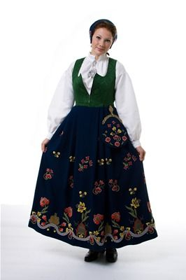 """""""Grafferbunad"""" with green damask waist and blue embroidered skirt from Lom, Gudbrandsdalen, Oppland, Norway (I think the damask waist have more color options, and i think you can have the skirt in black)"""