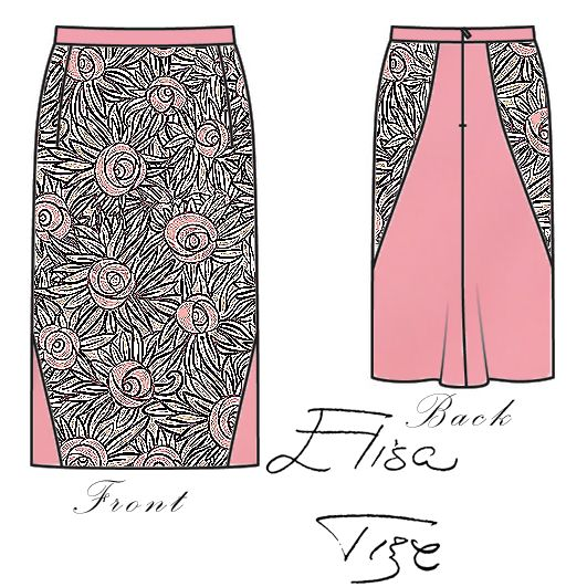"This kind of skirts are classics (straight in the front and with a little ""tail"" on the back). The main idea of this design is ""stylish girly"", that's why I used a lot of pink. The palette is concentrated on pink, but I added different shades of gray on the print (cartoon roses with pointy leafs). The pink fabric is similar to satin (not as shiny as the satin). Hope you like it!"