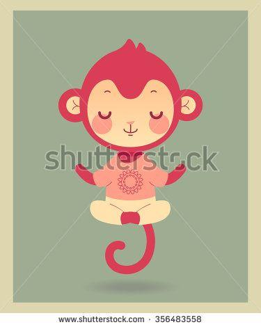 Cute cartoon monkey in yoga pose. Illustration in vector.