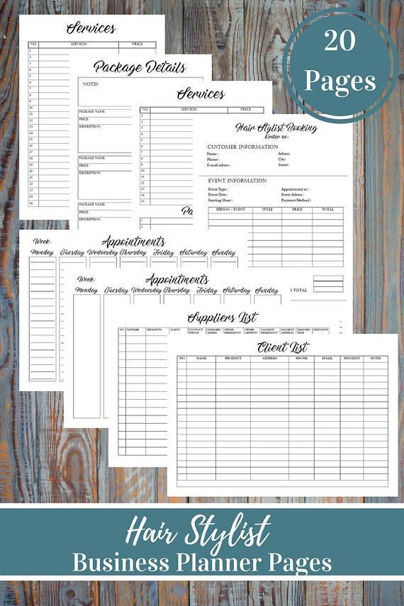 Hair Stylist Business Planner And Manager, Small Business Plan, Business Finance and Business Management Printable Forms, Services List, inventory list, This Hair Stylist Business Planner Bundle is for people who love having an organized business. With the help of these printable form it will be an easy job. Keep track of your weekly appointments with 2 types client scheduling forms, organize your time and prepare for productivity and stay on top of your finances.  ---------------------------...