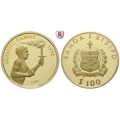 Westsamoa, 100 Tala 1991, 6,75 g fein, PP: 100 Tala 6,75 g fein, 1991. Olympische Spiele Barcelona 1992. Fackelläufer. KM 87; GOLD,… #coins