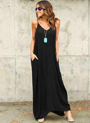 Cotton Solid Sleeveless Maxi Casual Dresses (1032989) @ floryday.com