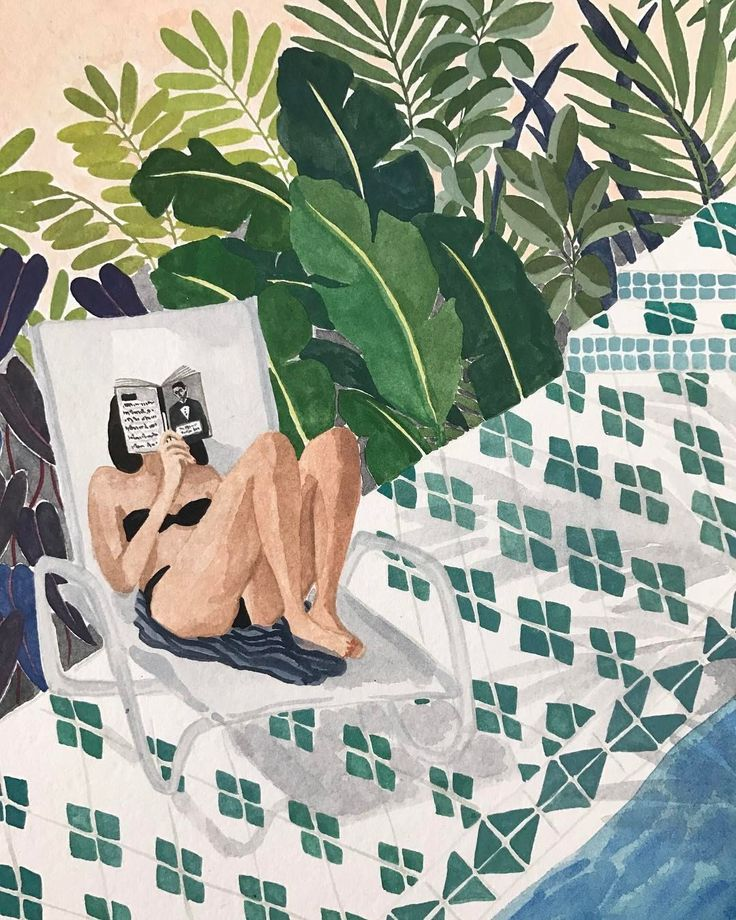 Qué placer en verano… leer al borde del agua! Refrescándose con la lectura (ilustración de Ohkii Studio)