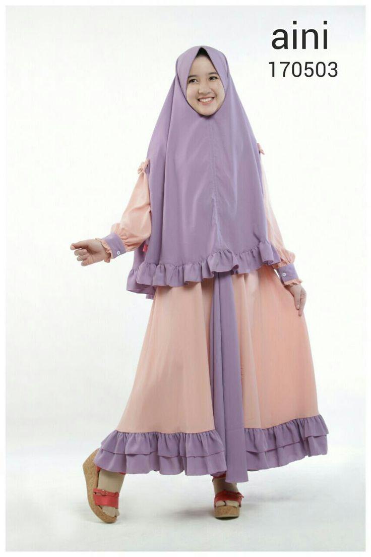 KOLEKSI GAMIS ANAK: Aini 170503 Jilbab Ungu  bahan : woolpeach  Type : Gamis + Jilbab  Ready size 4 (Rp.250.000) & 10 (Rp.270.000)