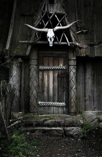 Viking door with animal skull
