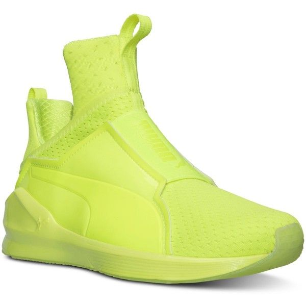 Puma Women's Fierce Bright Casual Sneakers from Finish Line ($100) ❤ liked on Polyvore featuring shoes, sneakers, safety yellow, training sneakers, puma sneakers, laced sneakers, lace up sneakers and lightweight sneakers