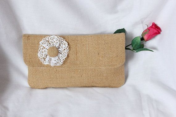 Wedding clutch bag  burlap and lace with magnetic by SoLuvli