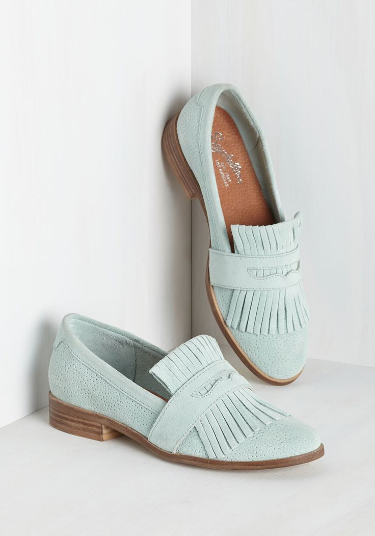 Stray Loafer by Seychelles - Blue, Solid, Fringed, Work, Casual, Pastel, Minimal, Exceptional, Pastel, Leather, Spring