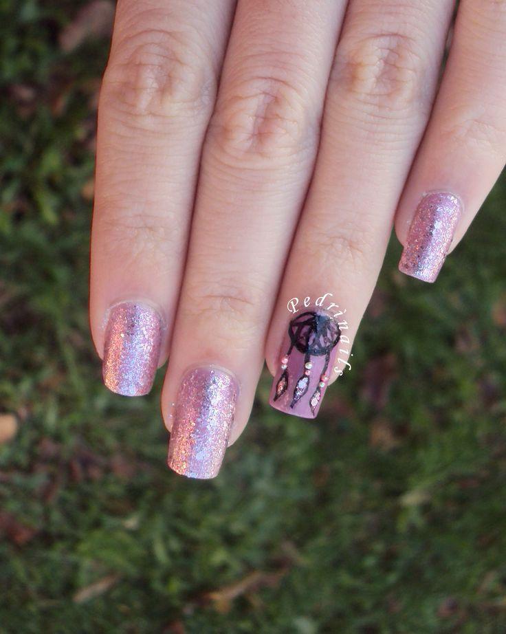 Dreamcatcher moon accent manicure freehand painted on mauve nail polish base + glitter  and microbeads art decorations  http://pedrinails.blogspot.it/2014/12/10-smaltopedia-20-nail-art-ispirata.html