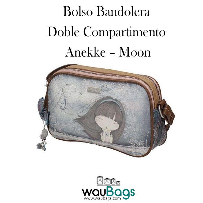 """Bolso Bandolera Anekke """"Moon"""", con compartimento principal con cremallera, varios bolsillos interiores y 2 bolsillos exteriores, uno en la parte delantera y otro en la parte trasera, ambos con cierre de cremallera.  Con correa regulable para llevar el bolso colgado al hombro o bien en bandolera.  @waubags.com #anekke #bolso #bandolera #complementos #oferta #descuento #rebajas #waubags"""