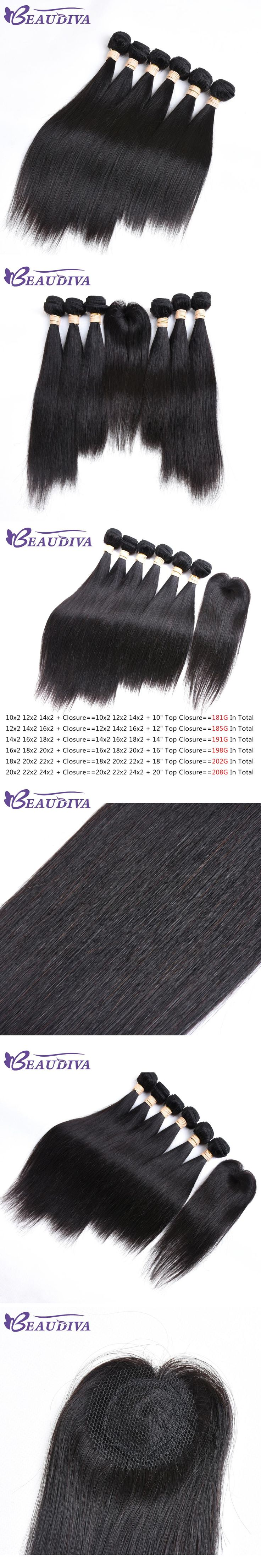 Beaudiva Pre-colored Remy Human Hair Bundles With Closure Malaysian Hair Straight 6 Bundles With Lace Closure Free Shipping