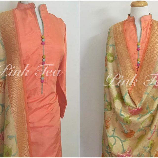 A gorgeous peachy coloured pure silk suit with one of our signature hand woven Mysore silk dupattas, woven with zari work. #handloom E. hello@pinktea.ca W. www.pinktea.ca #indian #indianfashion #pakistanifashion #indiangirl #fashion #indianbride #punjabi #vancity #vancouver #toronto #desi #desicouture #punjabisuits #la #designer #indiandesigner #bollywood #fashionblogger #indianwedding #desiwedding #desibride #bride #desibeautyblog #fashionista #anarkali #lehenga #saree #desifashionista…