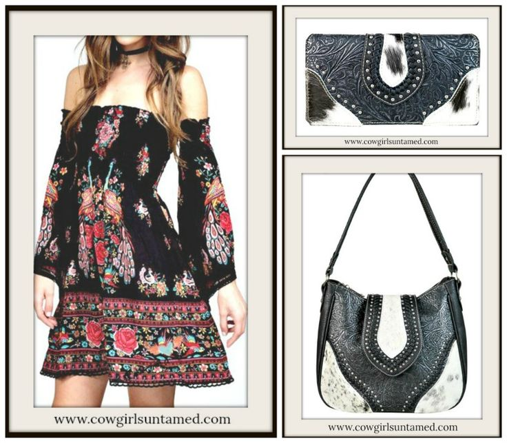 COWGIRL STYLE HANDBAG Floral Tooled Black Genuine Leather Silver Studded Hair on Hide Hobo Bag/ Matching Wallet/ Gypsy Bell Sleeve Smocked Top Floral Mini Dress  #handbag #hobo #bag #purse #shoulderbag #handbag #cowgirl #gypsy #western #boho #style #leather #tooled #wallet #womens #haironhide #black #white #pink #red #studded #smocked #fashion #accessories #wholesale #beautiful #onlineshopping
