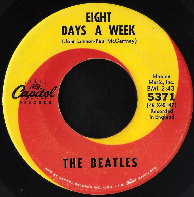 "Beatles ""Eight Days a Week"" 45 record - beautiful old Capital Records from another era..."