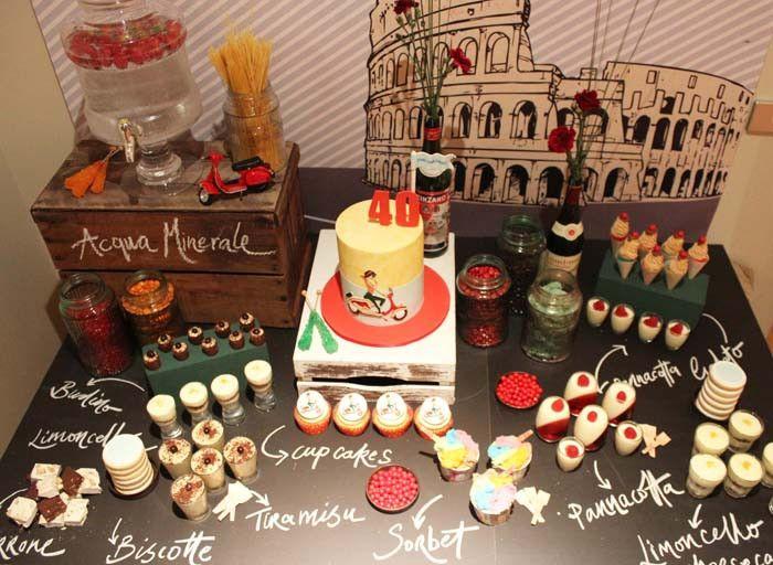 Love the chalkboard tabletop {Italian Vespa Party}