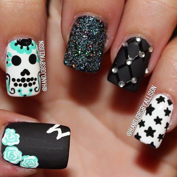 SKULL by handjobsbyallison  #nail #nails #nailart
