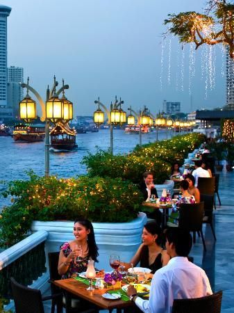 The terrace at Mandarin Oriental, Bangkok, We used to drink Irish coffees and watch the river traffic.