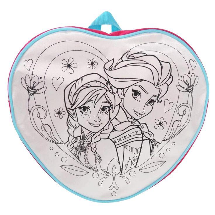 Hartvormige Disney Frozen tas om zelf in te kleuren. De tas is voorzien van een ritssluiting en verstelbare schouderbanden. Inclusief 4 textielstiften in verschillende kleuren. Afmeting: 25 x 27,5 x 9,5 cm - Kleur je eigen Disney Frozen Tas