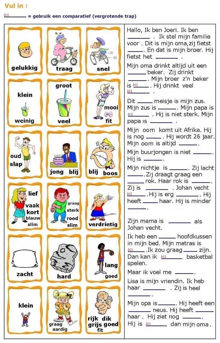Bijvoeglijke naamwoorden (adjectieven) : vul in.