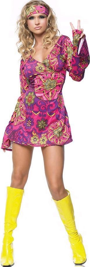 FANCY DRESS 1960\'S HIPPIE GIRL COSTUME - PINK SWINGING SIXTIES HIPPIE OUTFIT