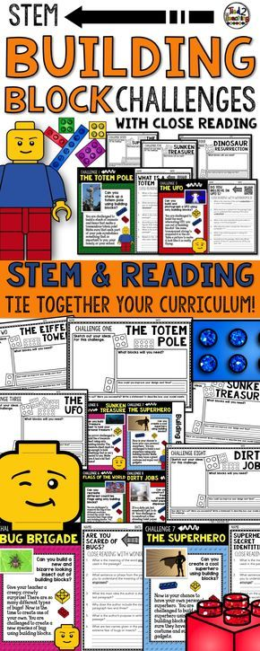 Building brick STEM activities and STEM challenges paired with rigorous text dependent questions that drive students back into close reading passages are a fun and exciting way to engage students every day. These fun no-prep building block STEM challenges have students thinking outside the box as they work to design, create, and improve.