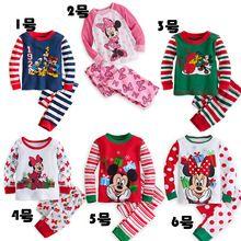 2015 Christmas Kids Clothes Baby Boys Girls Clothing Long Sleeve Costumes Cotton Pajamas PJS Childrens Pyjamas Pijamas Sets(China (Mainland))