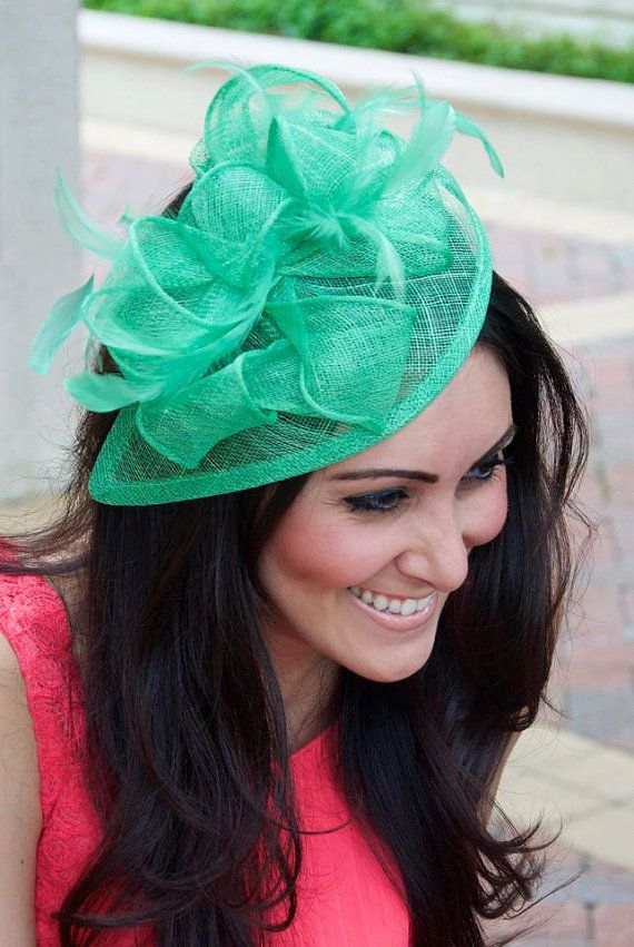 """Mint Green Fascinator - """"Penny"""" Mesh Hat Fascinator with Mesh Ribbons and Mint Feathers"""