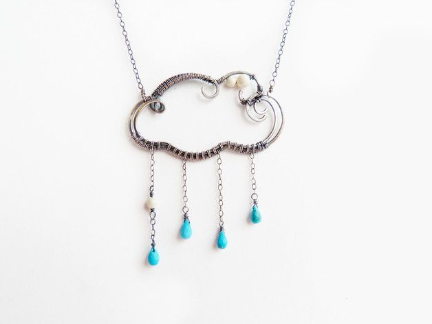 "Small sterling silver cloud pendant with turquoise drops, very light. Jewelry made by wire wrap without soldering.   The size of the pendant - 5 х 5 cm (2""x2"") For sale with chain. Silver chain..."
