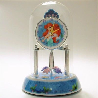 Disney Special Edition Little Mermaid Ariel Anniversary Clock Glass Dome Ceramic