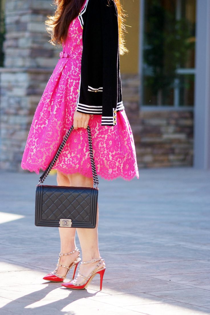 Lovely Lace, Pink Lace Dress and Valentino Rockstud Shoes. Love these heels!