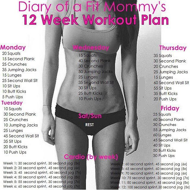 Diary of a Fit Mommy » 12 Week No-Gym Home Workout Plan