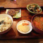 おむすび茶屋メダカのがっこう - 料理写真:野菜たっぷり定食(玄米650円or700円) もずくとねぎのライスお焼、わかめと高黍炒め