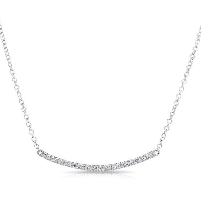 "14KT White Gold Diamond Mini Crescent Necklace Crescent measures approximately 1"" in length"